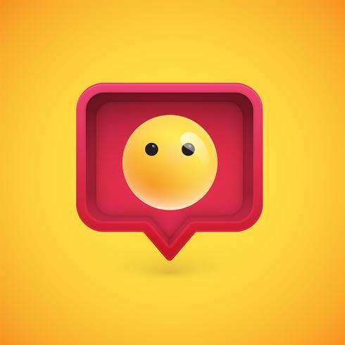 Emoticon 3D engraçado em balão 3D, ilustração vetorial