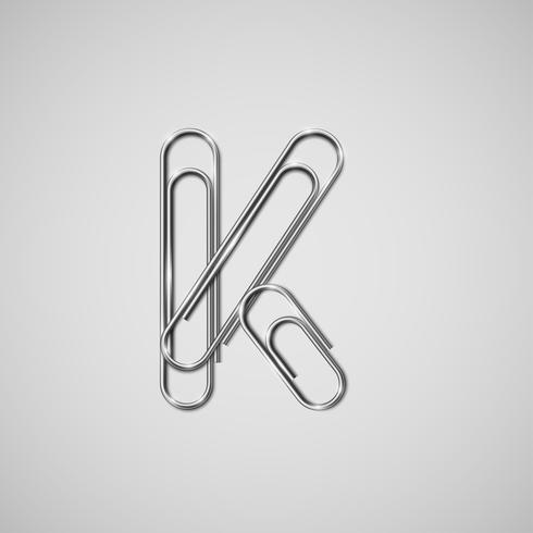 Paperclips collegati che formano un carattere, vettore
