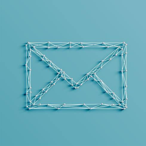 Realistic illustration of an email icon made by pins and strings, vector