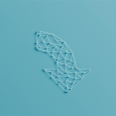 Ein Pfeil gemacht durch Linien und Stifte, 3D realistisch, vektorabbildung