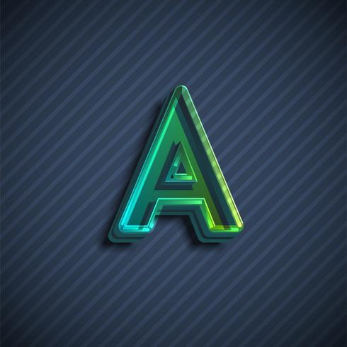 Glasiges Zeichen des Gusses 3D, Vektorillustration