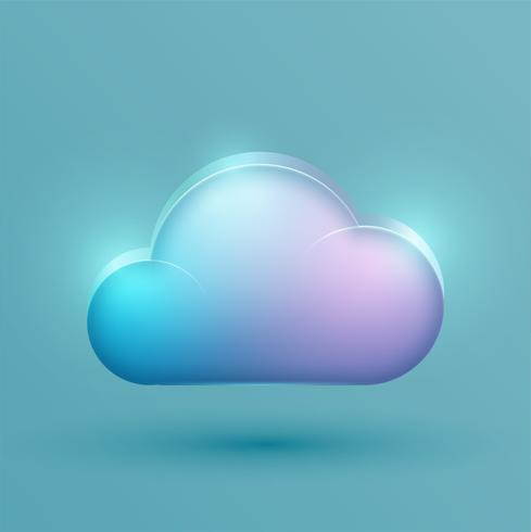 Icono de nube realista de neón, vector