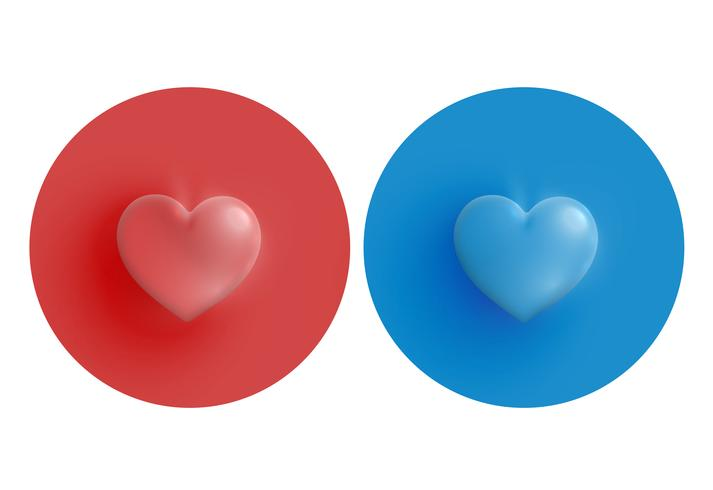 Red and blue hearts on circle, vector illustration