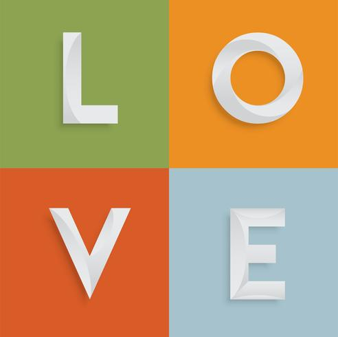 'AMOR' de cuatro letras-palabra para sitios web, ilustración, vector
