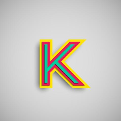 Colorido personaje papercut de una tipografía, vector