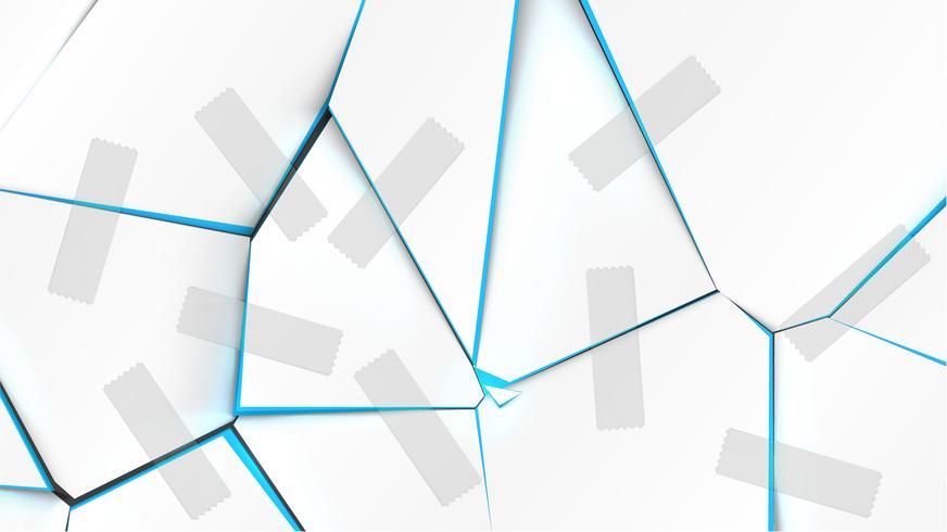Bunte gebrochene Oberfläche mit Bändern, Vektorillustration