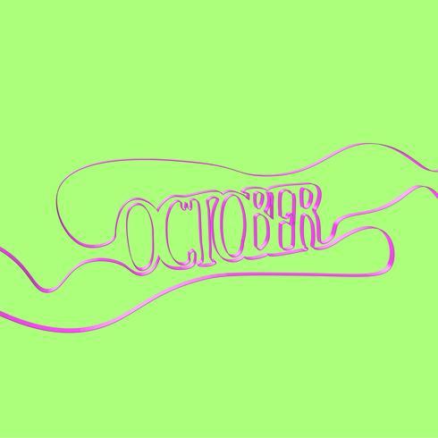 Ribbon font forms 'October', vector illustration