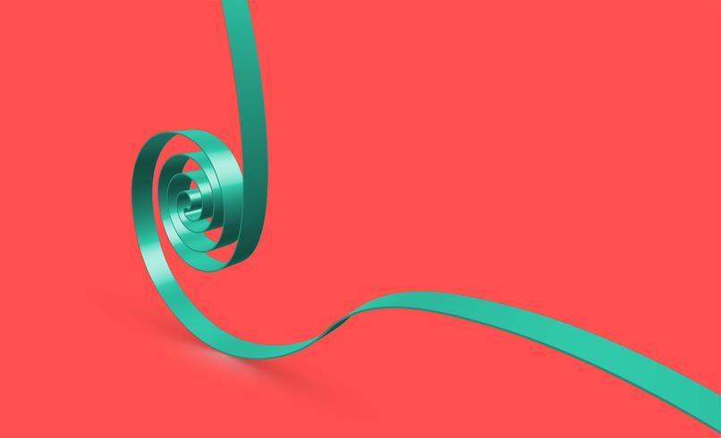 Ruban swirly vert sur fond rouge, vecteur