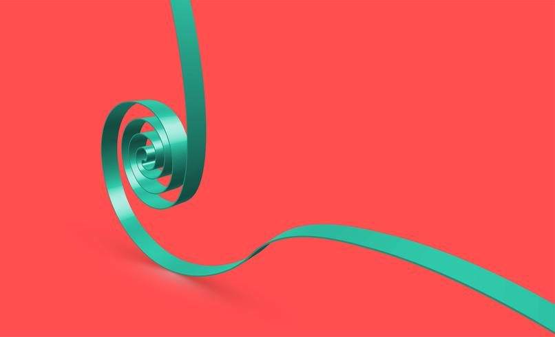 Cinta verde swirly sobre fondo rojo, vector