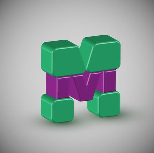 Bunter Charakter 3D von einem Schriftsatz, Vektor