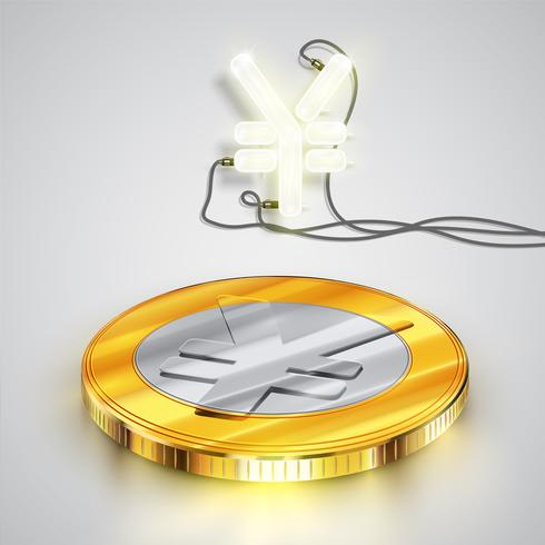 Coin with neon character, vector illustration