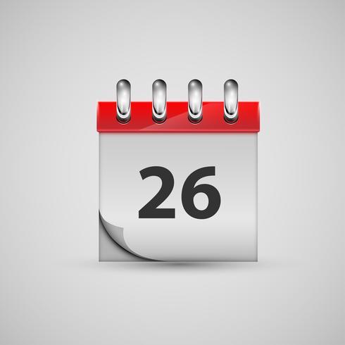 Icona del calendario realistico, vettoriale