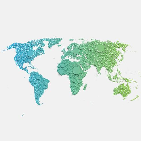 Colorful world map made by balls and lines, vector illustration