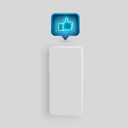 Modelo de smartphone fosco com uma bolha do discurso e um néon como dentro, ilustração vetorial vetor