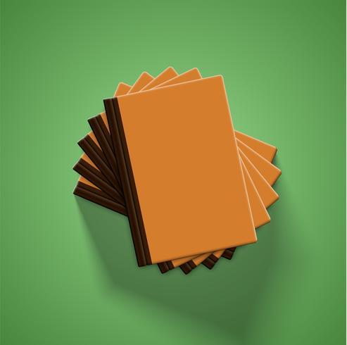 Realistische kleurrijke boeken met groene achtergrond en schaduw, vectorillustratie