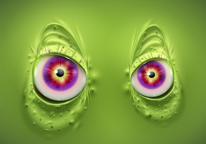Occhi di un mostro verde spaventoso, vettoriale