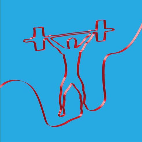 Färgrikt band formar en viktlifter, vektor