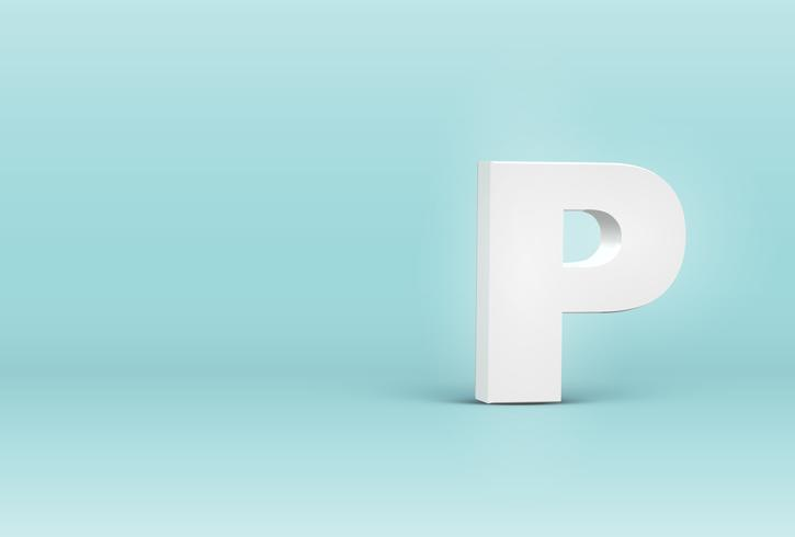 High detailed 3D font letter, vector illustration