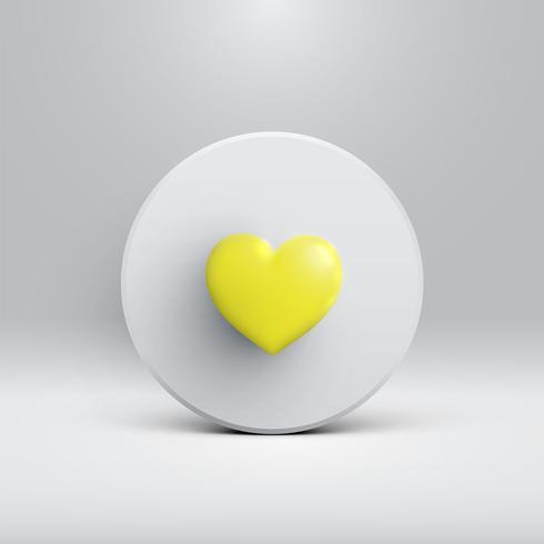 Alto cuore 3D dettagliato su un disco, illustartion vettore