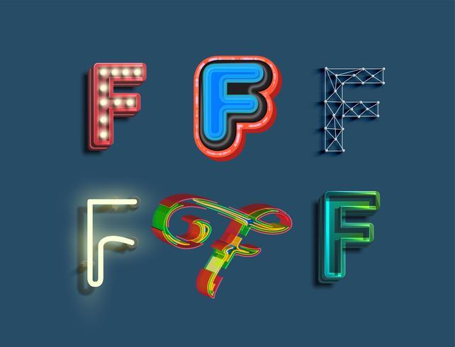 En teckenuppsättning med 6 olika stilade teckensnitt, vektor
