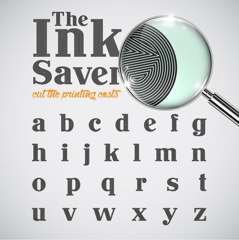 Elegante carácter de ahorro de tinta: menos tinta al imprimir, vector