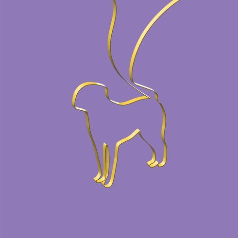 Ruban réaliste façonne un animal, illustration vectorielle