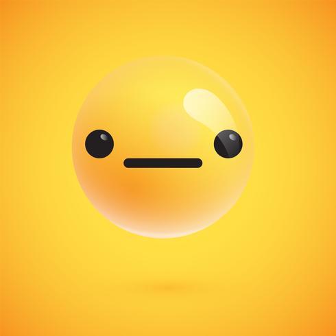 Netter hoch-ausführlicher gelber Emoticon für Netz, Vektorillustration