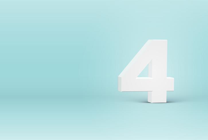 Elevato numero di carattere 3D dettagliato, illustrazione vettoriale