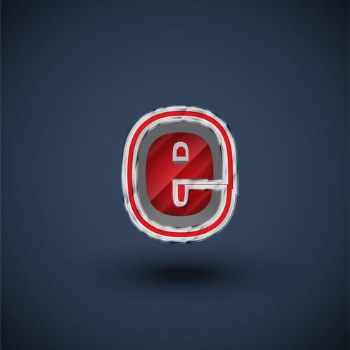 3D red steel font character, vector
