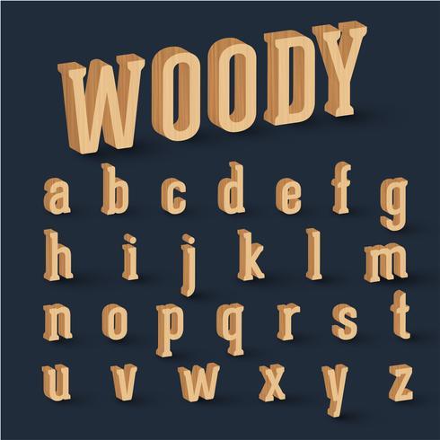 Conjunto de fuentes de madera 3D, vector