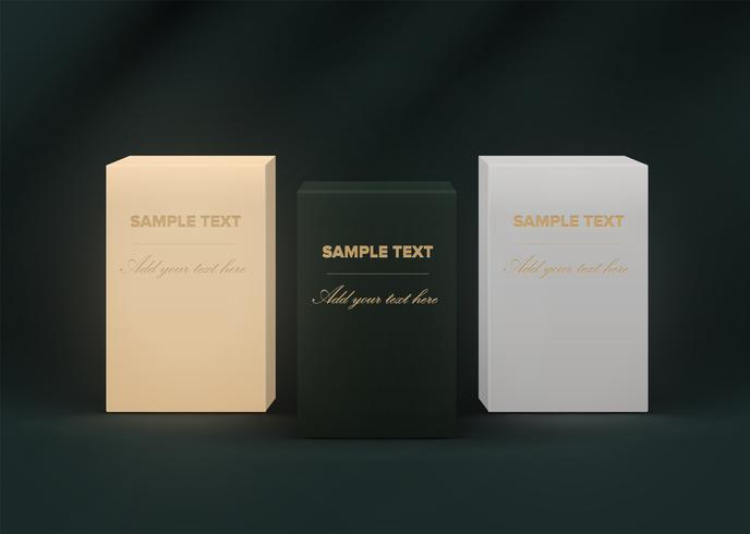 Boîtes de produits réalistes très détaillées sur fond vert foncé, illustration vectorielle
