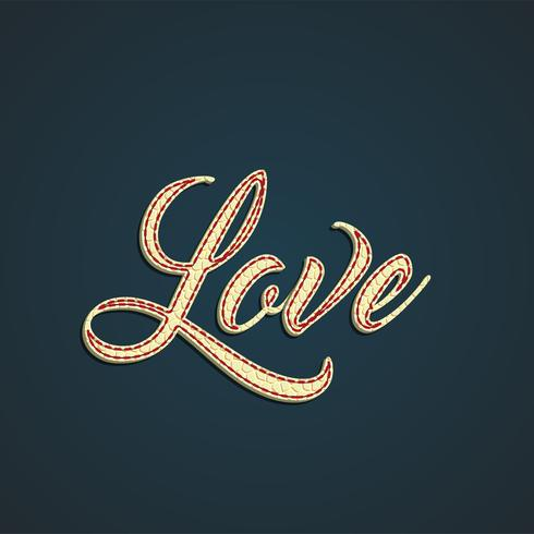 'Love' leather sign, vector illustration