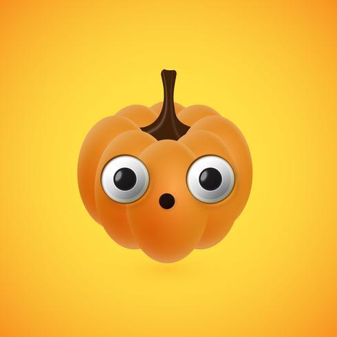 Funny halloween pumpkin face for kids, vector illustration