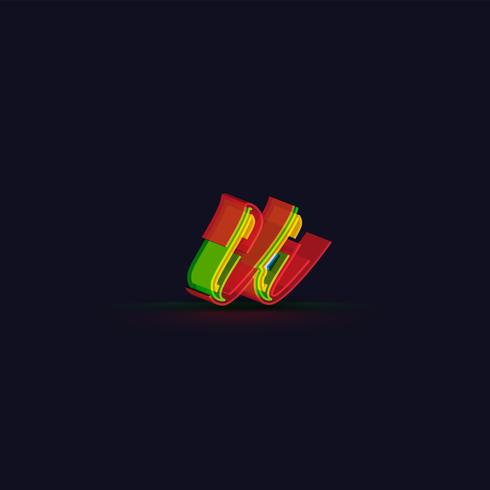 3D colorful character from a fontset, vector