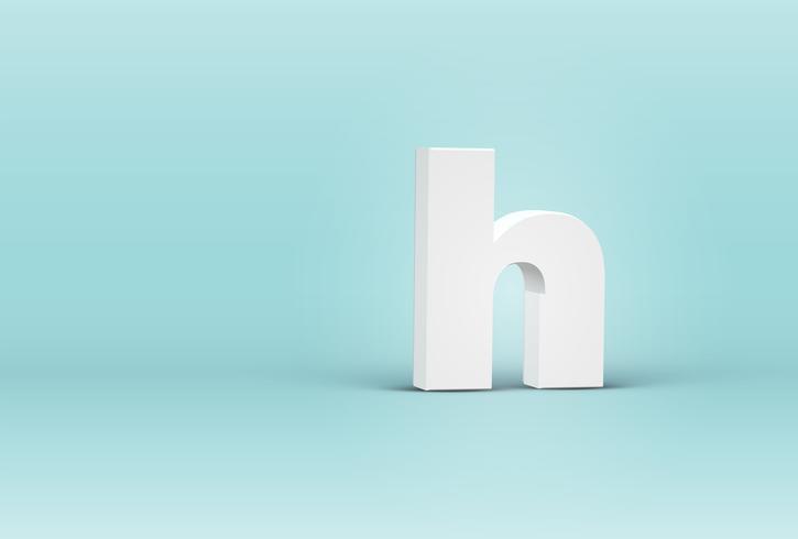 Letra de fuente 3D detallada alta, ilustración vectorial