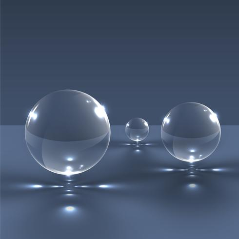 Realistic glass spheres, vector