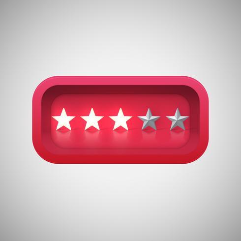 Glühende rote Sternbewertung in einem realistischen glänzenden Kasten, Vektorillustration