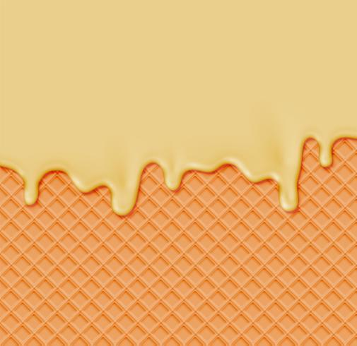 Realistische wafel met smeltende room op het, vectorillustratie vector