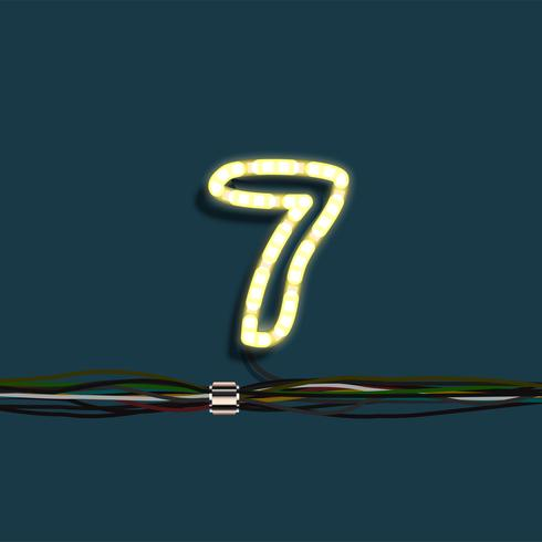 Número de guirnalda de neón, vector