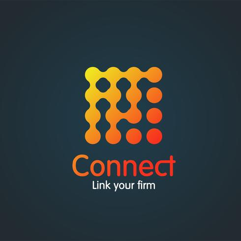Colorful simple 'connection' illustration on blue, vector