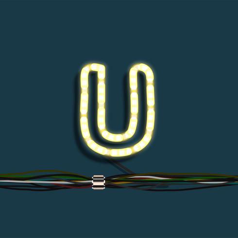 Neon garland letter, vector