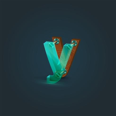 Caractère réaliste de bois et de verre provenant d'un typographe, illustration vectorielle vecteur