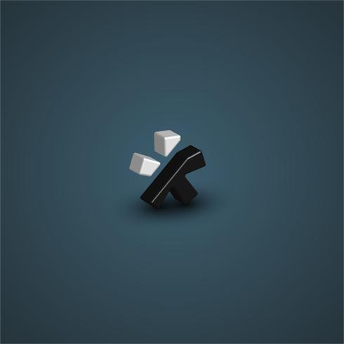 Schwarzweiss-Zeichen 3D von einem Gusssatz, Vektorillustration