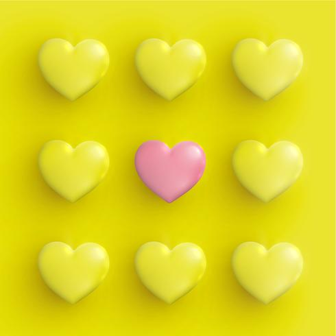 Pastel coloured 3D hearts, vector illustration