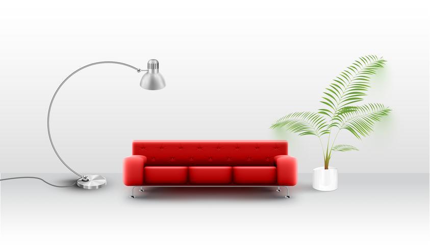Un sofá rojo realista en una habitación blanca, vector