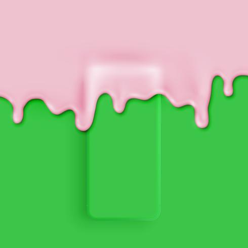 Smatphone mate 3D detallado cubierto con pintura, ilustración vectorial