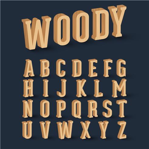 Conjunto de fontes de madeira 3D, vetor