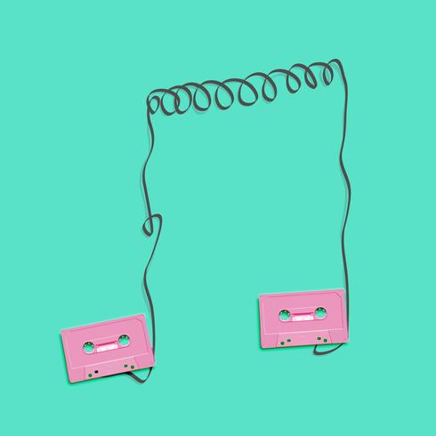 Pastel retro realistic cassettes forming a note on flat background, vector illustration