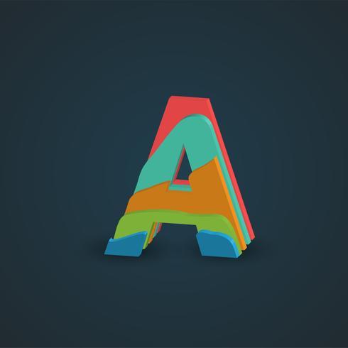 Carattere stratificato variopinto 3D da un fontset, vettore