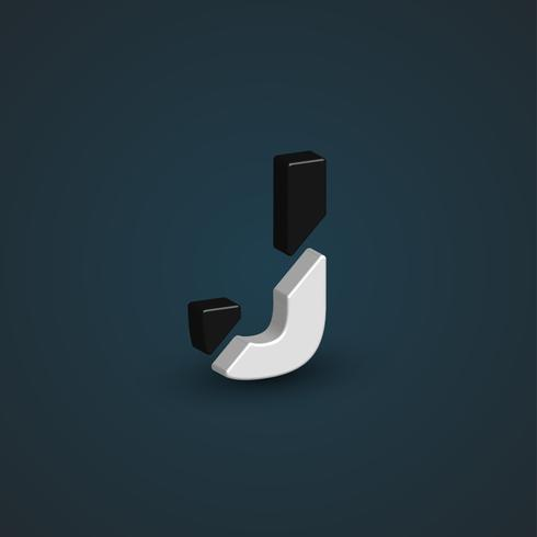Personagem 3D preto e branca de um conjunto de fontes, ilustração vetorial